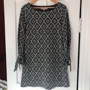 Loft Gray/White Diamond Pattern Wool Blend Dress